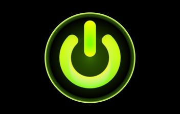 Green Computer Power Button - vector gratuit #174455