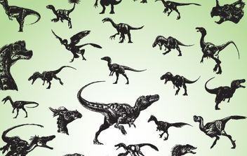 Silhouette Vector Dinosaurs - Free vector #174535