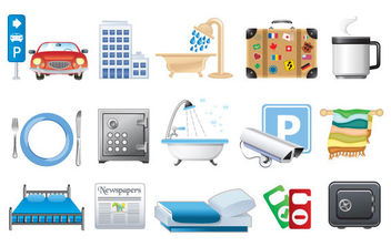 Hotel icons in vector format - бесплатный vector #175325