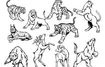 10 Animal Vector Mascots - Free vector #175475