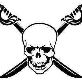 Skull With Crossed Swords - Free vector #175535