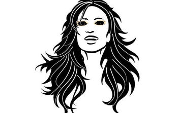 Girl With Black Hair Vector - Free vector #175755