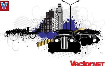 City Street Vector Art with Vintage Cars - vector gratuit #176045