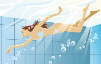 Swimming Woman - vector gratuit #176145