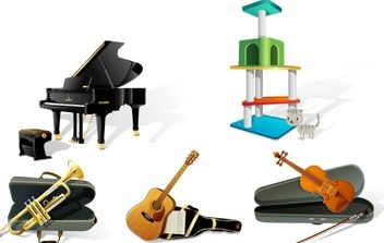 Music Instrument, Dog Food, Office - vector gratuit #176155
