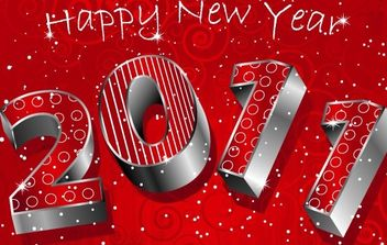 happy new year 3D 2011 - Free vector #176585