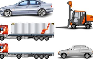 Forklift, Lorry and Car - Free vector #176785