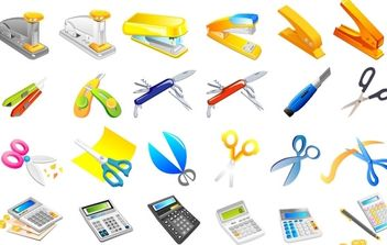 Stapler, utility knife, scissors, calculator, pens - vector #176795 gratis