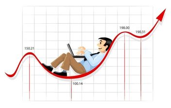 Businessman working on the currency chart line - vector gratuit #177315