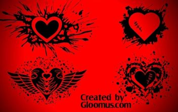 Grunge hearts - Free vector #177755