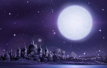 Ancient city under full moon - vector gratuit #177795