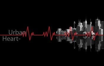 Urban Heartbeat line and buildings - Free vector #178505
