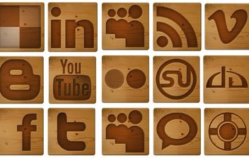 Free Social Media Woodcut Icons - Free vector #178715