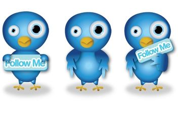 Cute Twitter Birds - vector gratuit #179205