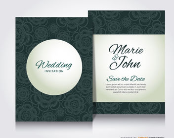 Green flowers wedding invitation - бесплатный vector #179485