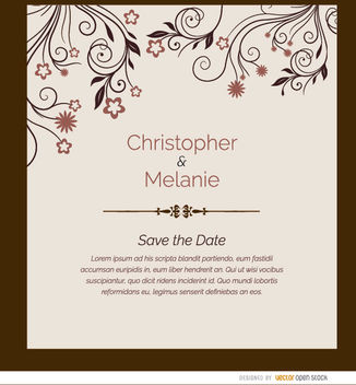 Marriage invitation card flowers - Free vector #179505