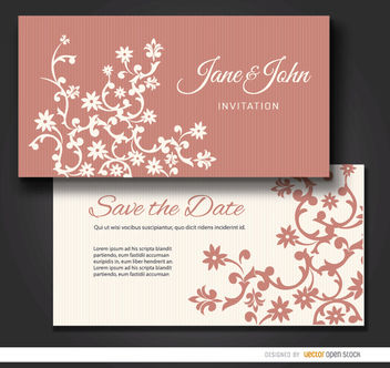 Floral marriage invitation sleeve - Free vector #179525