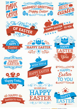 15 Easter labels and ribbons - Free vector #179535