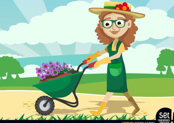 Gardener Women carrying Plants by Wheelbarrow - Free vector #179605