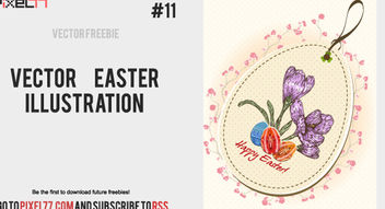 Flourish Vintage Easter Card - vector gratuit #179615