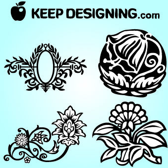 Four Fancy Flowers - Free vector #179655