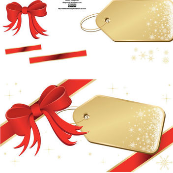 Christmas Tags with Red Ribbons - Free vector #179745