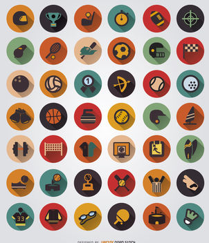 42 Sport elements icon set - Free vector #179785
