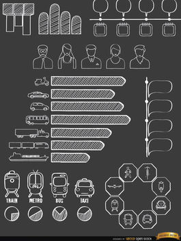 Transport means doodle infographics - vector gratuit #179815