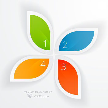 Colorful Creative Four Leaves Floral Infographic - vector gratuit #180065