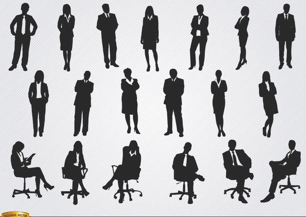 Standing sitting executive men women - Free vector #180095