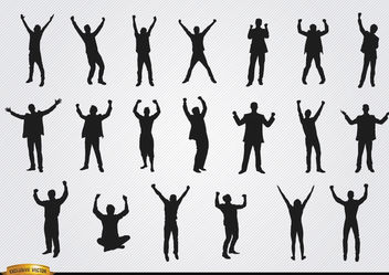 Men celebrating success silhouettes - Free vector #180165
