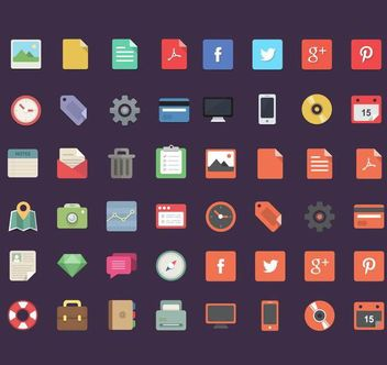 Flat 48 Office, Social and Travel Icons - Free vector #180215
