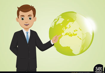 Young Businessman Showing Globe - vector gratuit #180235