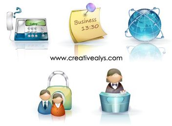 Glossy Beautiful 3D Business Icons - Free vector #180285
