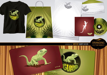 Iguana branding Set with Stationary Template - Free vector #180495