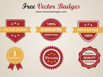 Classy Conceptual Red Badge Pack - Free vector #180535