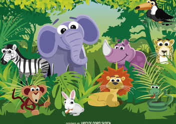 Animals of the Jungle - Free vector #180685