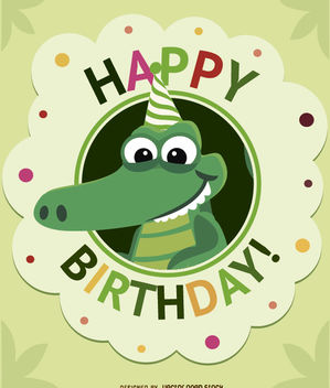 Birthday cartoon crocodile card - vector gratuit #180705