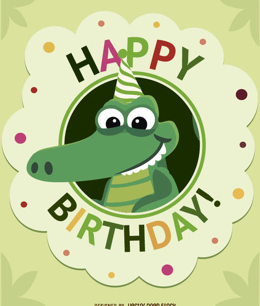 Birthday cartoon crocodile card - vector #180705 gratis