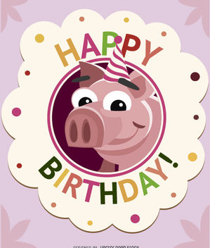 Birthday children pig card - Free vector #180715
