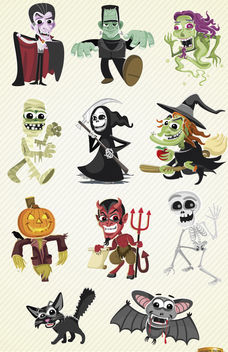 Halloween cartoon characters set - Free vector #180755