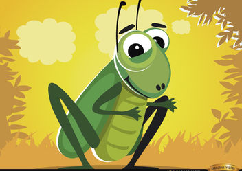 Funny cartoon cricket bug - Free vector #180785
