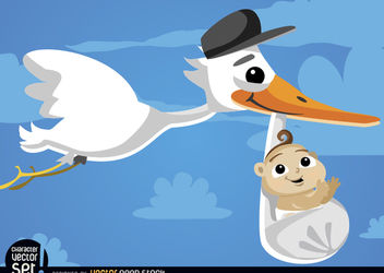 Cartoon Stork carrying baby at sky - бесплатный vector #180805