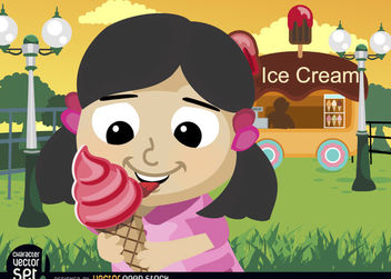 Girl eating ice cream cone in park - бесплатный vector #180885