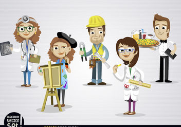 People working in different jobs - vector gratuit #180905