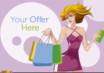 Shopping cartoon woman with offer circles - бесплатный vector #180925