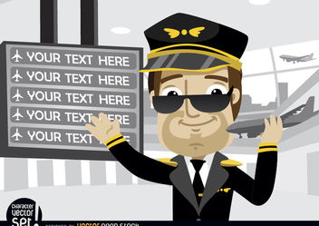 Pilot showing airport board texts - vector gratuit #180945