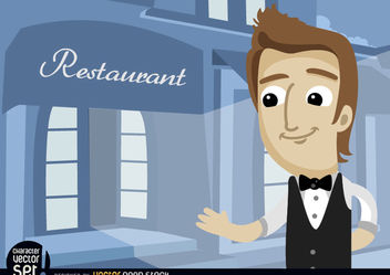 Waiter in restaurant entrance - vector gratuit #180965
