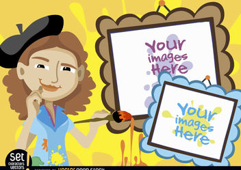 Young artist woman with picture frames - vector gratuit(e) #180985