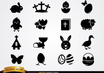 Cute Easter Icon Pack Silhouette - Free vector #181115
